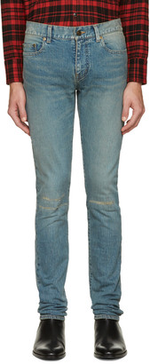 Saint Laurent Blue Original Low Waisted Knee Patch Skinny Jeans $750 thestylecure.com