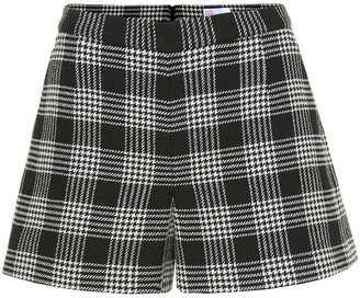 RED Valentino Checked cotton and wool-blend shorts