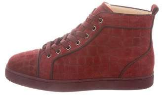 Christian Louboutin Embossed Suede High-Top Sneakers w/ Tags