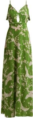 No.21 NO. 21 Floral and heron-print silk-crepe dress