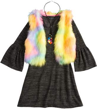 My Michelle Girls 7-16 Bell Sleeve Dress & Faux-Fur Vest Set