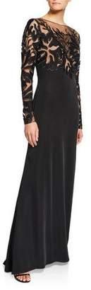 Tadashi Shoji Lace Illusion Long-Sleeve Crepe Gown