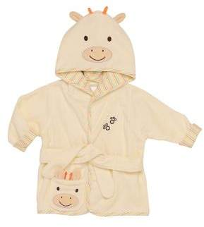 Little Me Baby's Hooded Giraffe Velour Bathrobe