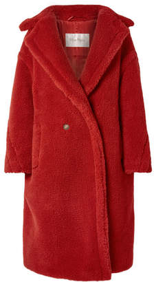 Max Mara Teddy Bear Camel Hair And Silk-blend Coat - Red
