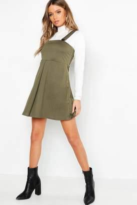 boohoo Pleat Front Pinafore Dress