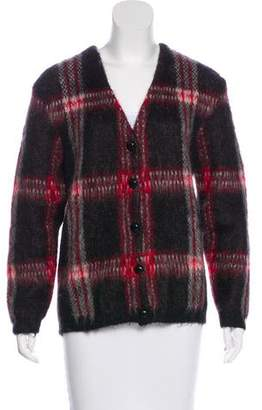 Saint Laurent Plaid Mohair Cardigan
