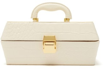 STAUD Lincoln Crocodile Effect Leather Box Bag - Womens - Cream