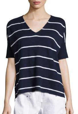 Eileen Fisher Striped Linen-Blend Top