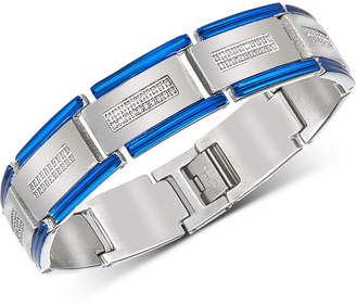 Esquire Men's Jewelry Diamond Two-Tone Bracelet (1/2 ct. t.w.) in Stainless Steel & Blue Ion-Plating