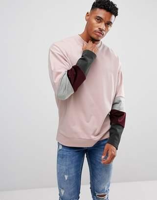Asos Oversized Sweatshirt With Velour Color Blocking Sleeve Panels