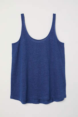 H&M Linen Jersey Tank Top - Blue