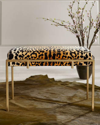 John-Richard Collection Gold Metal and Leopard Ottoman