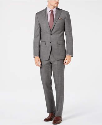 Tallia Men's Big & Tall Slim-Fit Stretch Gray Sharkskin Wool Suit