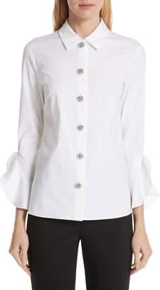 Michael Kors Ruffle Cuff Jeweled Button Blouse