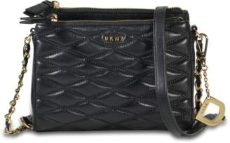 DKNY Diamond Quilted Double Zip Crossbody Bag in Black Quilted Lamb Nappa Leather