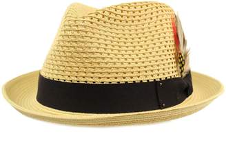 b7fdbe9215d SK Hat shop Men s Light Vented Removable Feather Derby Fedora Curled Brim  Hat ...
