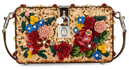 Dolce & Gabbana Dolce Floral Sequined Box Clutch Bag, Gold $3,595 thestylecure.com