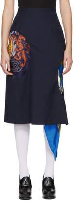 Toga Navy Wool Hole Skirt