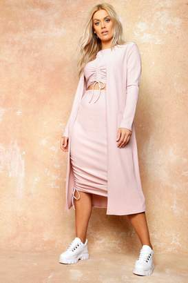 boohoo Plus Knit Pocket Maxi Cardigan