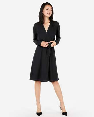 Express Surplice Tie Waist Shirt Dress