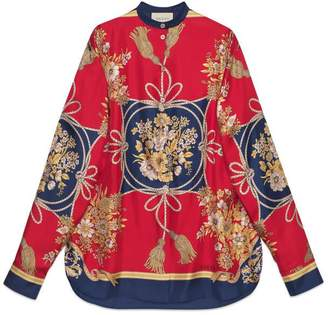 Gucci Oversize shirt with flowers and tassels