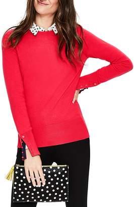 Boden Tilda Button Cuff Detail Cotton Blend Sweater