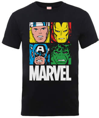 Marvel Multi Colour Main Tile Men's Black T-Shirt