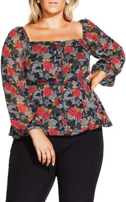 City Chic Floral Affair Top