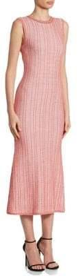 Victoria Beckham Striped Crewneck Midi Dress