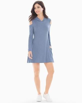 Elan International Cold Shoulder Hooded Short Dress Indigo