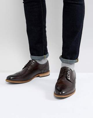 at Asos Asos Brogue Shoes In Brown Leather With Natural Sole
