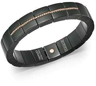 Luce Roberto Demeglio 18K Rose Gold & Matte Black Ceramic Domino Square Stretch Bracelet with Champagne Diamonds
