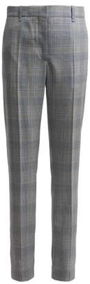 Calvin Klein Windowpane Straight Leg Wool Trousers - Womens - Blue Multi
