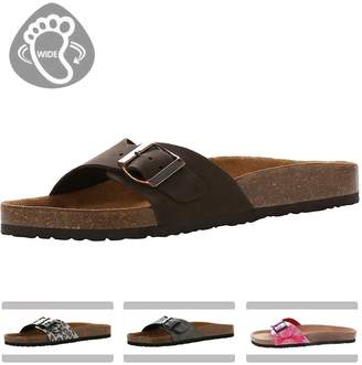 e52f40b5be3e VVFamily Women s Genuine Leather Slides Sandals Adjusting Buckle (EU 36