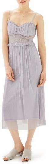 Topshop Petite Women's Topshop Side Cutout Tulle Midi Dress
