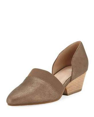 Eileen Fisher Hilly Demi-Wedge Metallic Suede Pumps