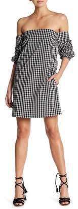1 STATE 1.State Off-the-Shoulder Plaid Dress