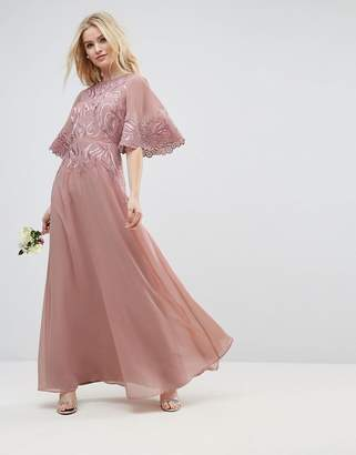 c38818b47f0 Asos Design DESIGN lace applique flutter sleeve maxi dress