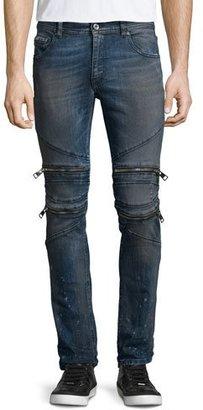 Just Cavalli Vintage Dirty Slim-Fit Moto Denim Jeans, Blue $565 thestylecure.com