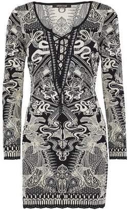 Roberto Cavalli Lace-Up Metallic Jacquard-Knit Mini Dress