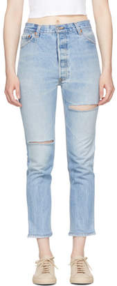 RE/DONE Indigo Levis Edition High-Rise Ankle Crop Jeans