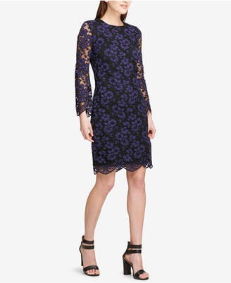 DKNY Long-Sleeve Lace Sheath Dress