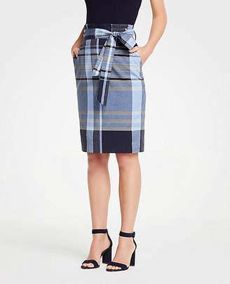 Ann Taylor Madras Tie Waist Pencil Skirt