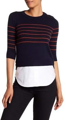 Veronica Beard Knot Mariner Combo Silk & Cashmere Sweater