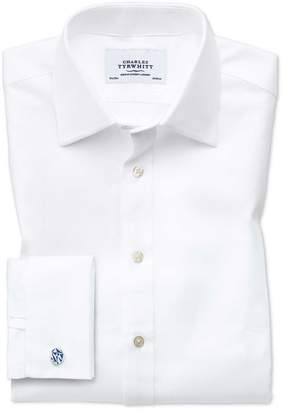 Charles Tyrwhitt Slim Fit Egyptian Cotton Cavalry Twill White Dress Shirt Single Cuff Size 15.5/34