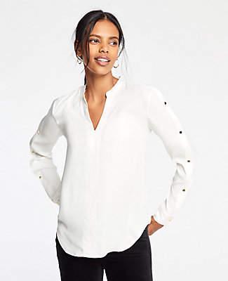 Ann Taylor Petite Button Sleeve V-Neck Blouse