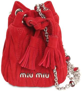 Miu Miu Mini Suede Bucket Bag W/ Crystal Strap