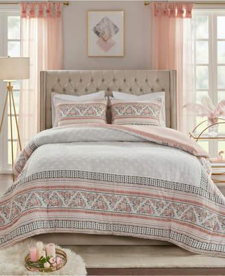 Madison Home USA Moria Full/Queen 3-Pc. Cotton Printed Clip Jacquard Duvet Cover Set Bedding