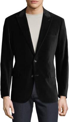 Neiman Marcus Men's Two-Button Velvet Blazer, Black