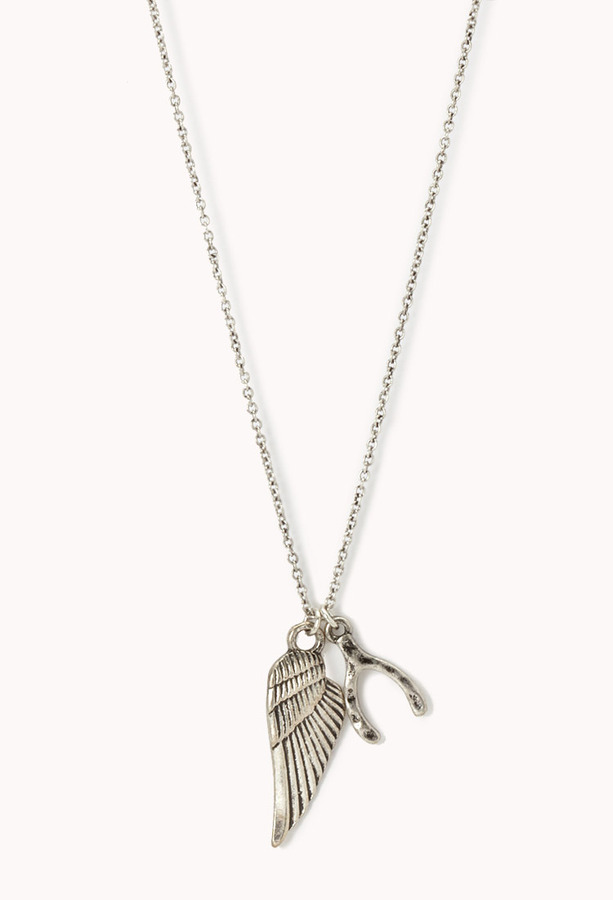 Forever 21 Feather & Wishbone Necklace